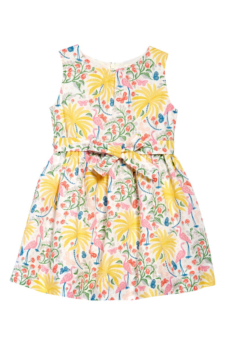 MINI BODEN Kids' Floral Print Fit & Flare Dress, Main, color, IVORY TROPICAL CHARM