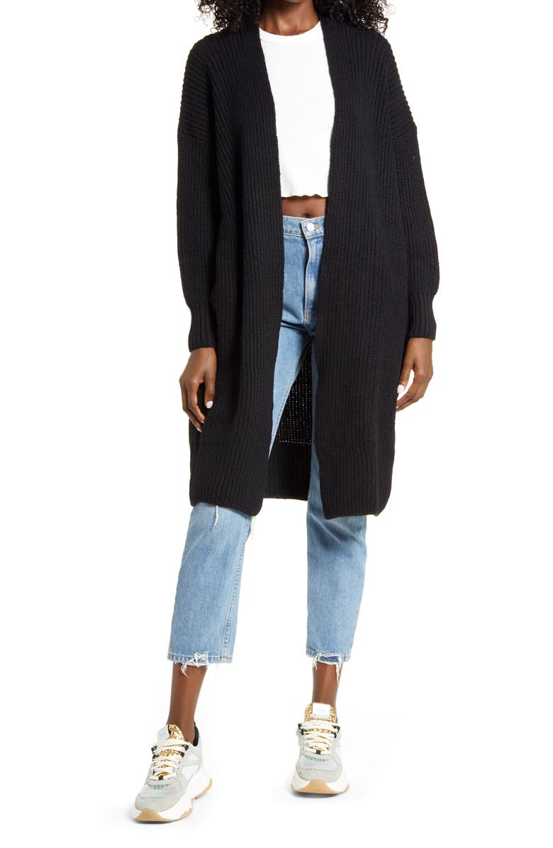 TOPSHOP Ribbed Open Front Cardigan, Main, color, BLACK