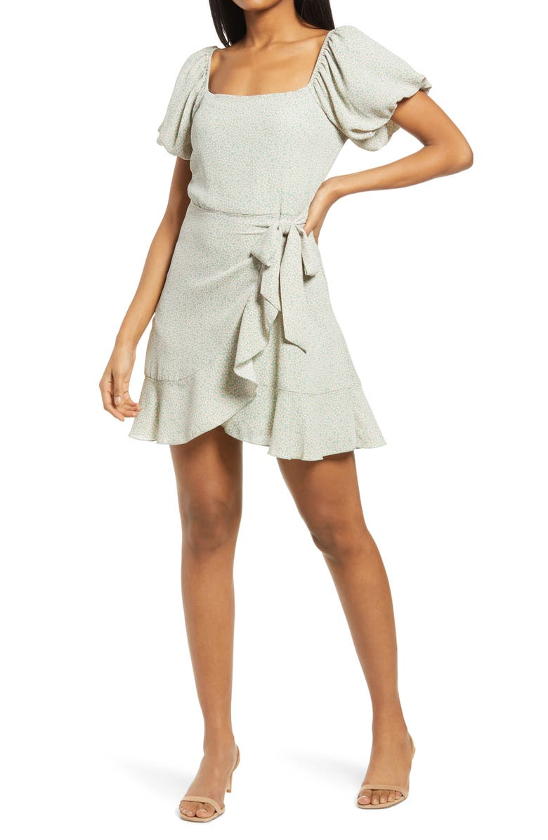 ROW A Floral Ditsy Puff Sleeve Faux Wrap Minidress, Main, color, SAGE