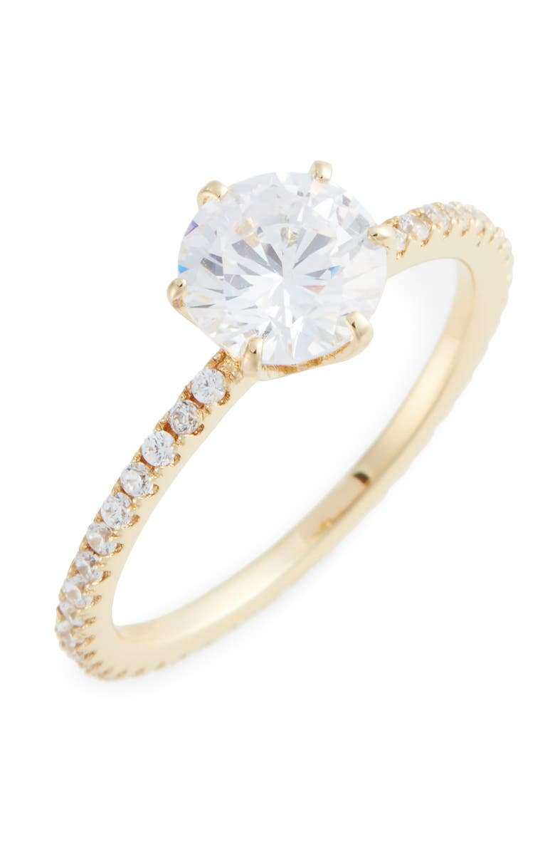 NORDSTROM Solitaire Pavé Cocktail Ring, Main, color, CLEAR- GOLD