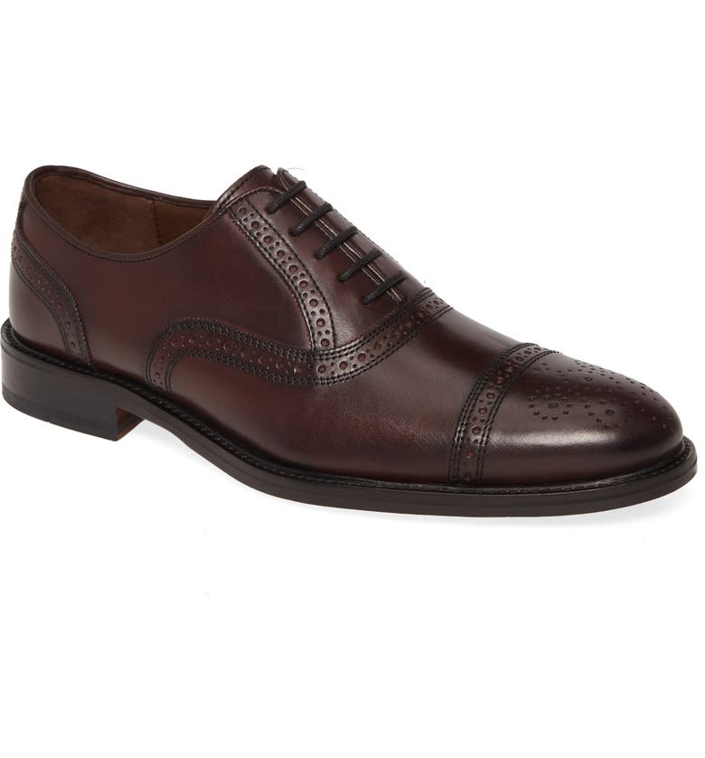 JOHNSTON & MURPHY Daley Medallion Toe Oxford, Main, color, BURGUNDY LEATHER