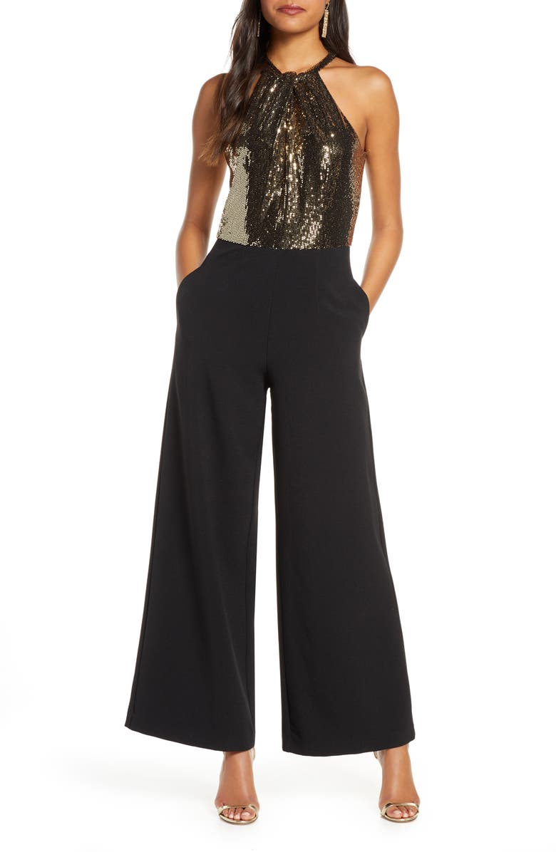 JULIA JORDAN Metallic Mesh Wide Leg Halter Jumpsuit, Main, color, BLACK/ GOLD