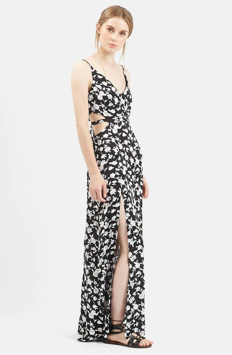 TOPSHOP Rose Print Cutout Maxi Dress, Main, color, 001