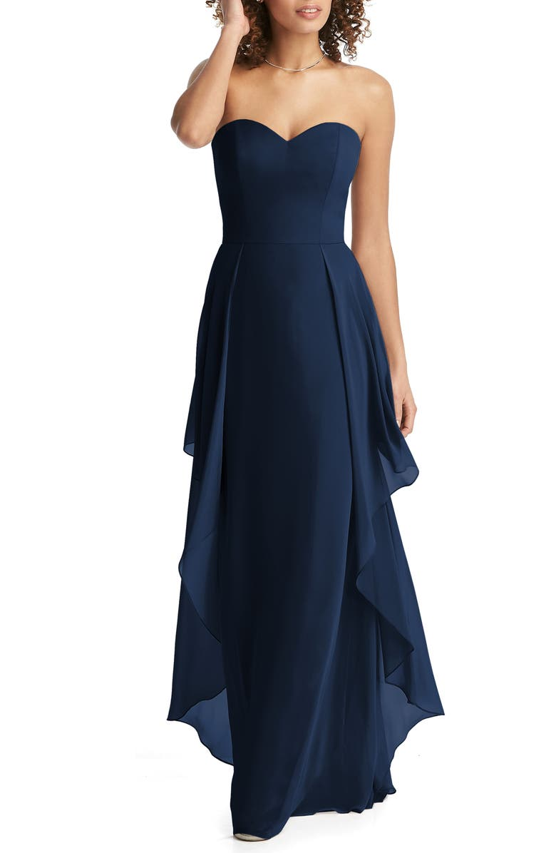 SOCIAL BRIDESMAIDS Strapless Sweetheart Neck Chiffon Gown, Main, color, MIDNIGHT