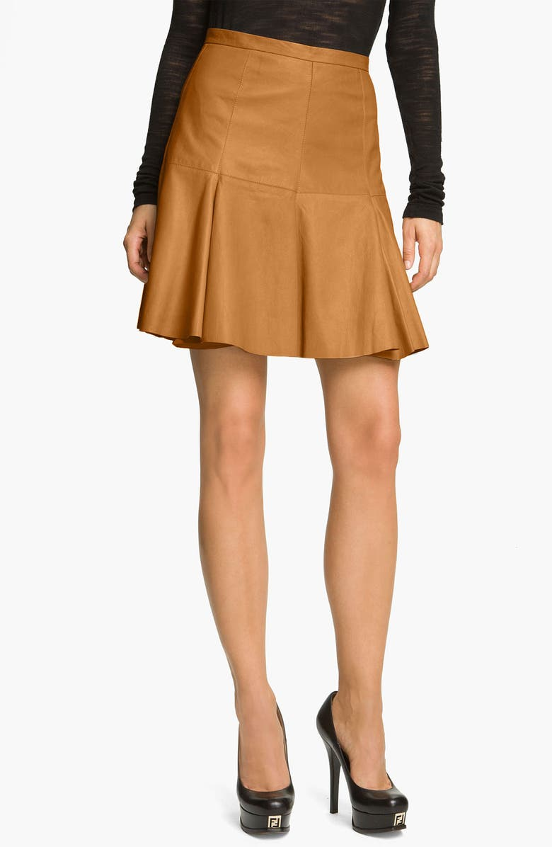 HALSTON HERITAGE Flared Leather Skirt, Main, color, RUST