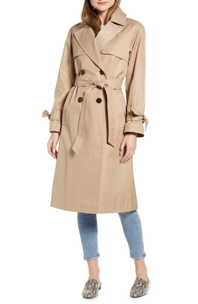 SAM EDELMAN Double Breasted Trench Coat, Main, color, SAND
