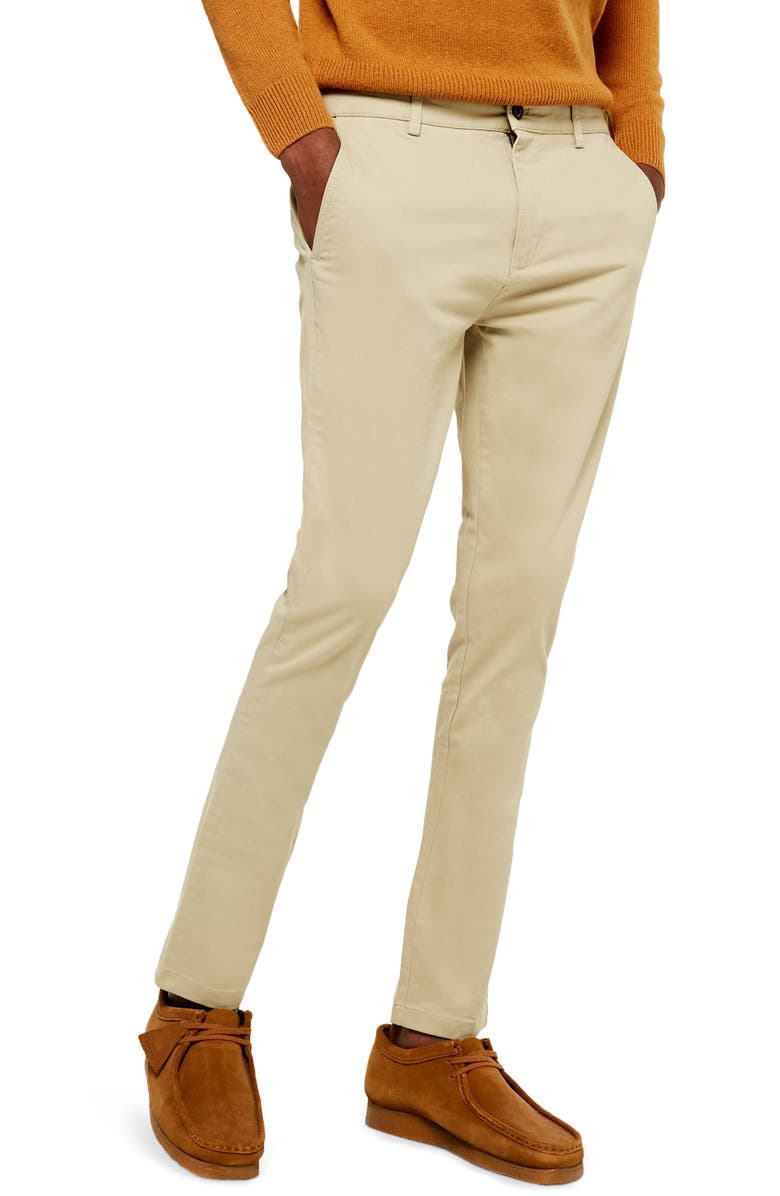 TOPMAN Stretch Skinny Fit Chinos, Main, color, BEIGE