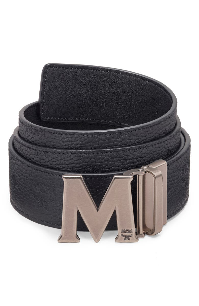 MCM Claus Reversible Leather Belt, Main, color, 001