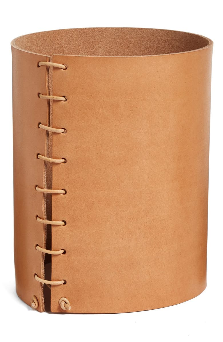 MADE SOLID Small Leather Wrapped Vase, Main, color, NATURAL