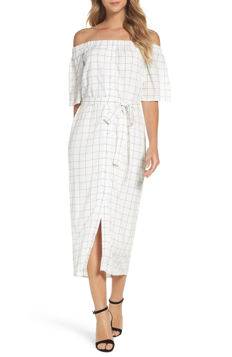 CHARLES HENRY Off the Shoulder Shirtdress, Main, color, 905