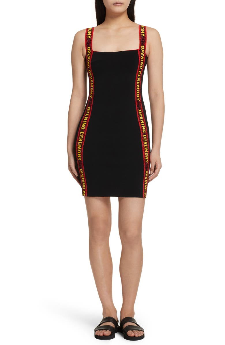 OPENING CEREMONY Logo Tape Ribbed Body-Con Dress, Main, color, Black