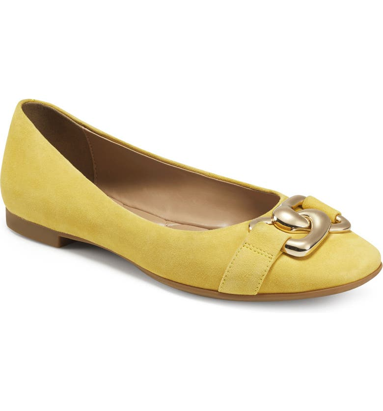 AEROSOLES Candice Chain Flat, Main, color, YELLOW SUEDE