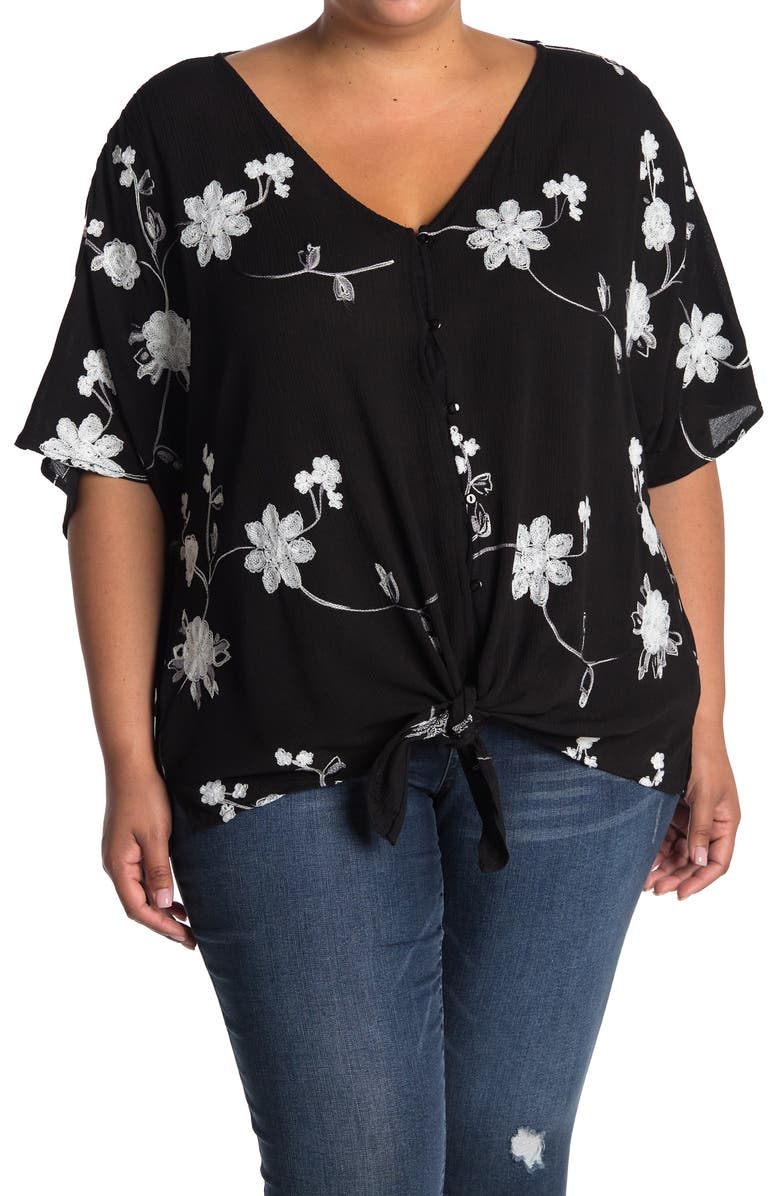 FORGOTTEN GRACE Tie Front Embroidered Top, Main, color, BLACK