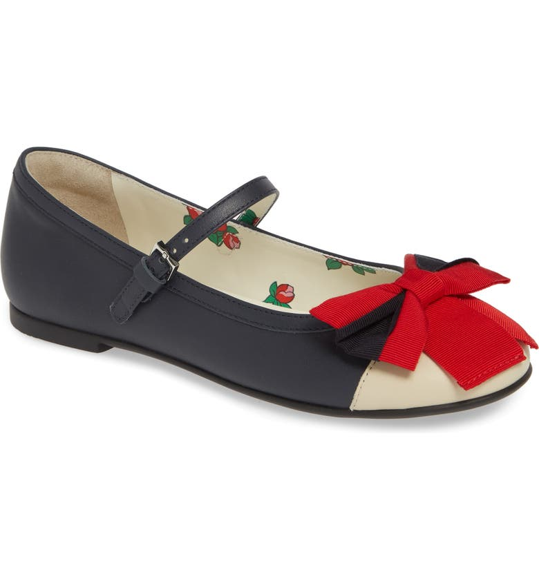 GUCCI Web Bow Mary Jane Flat, Main, color, 465