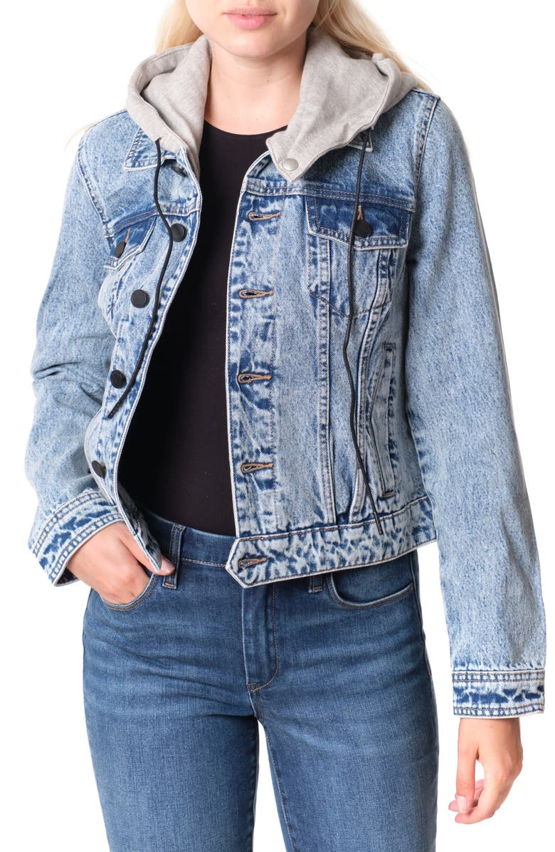 BLANKNYC Denim Trucker Jacket with Removable Hood, Main, color, SORRY BOUT IT