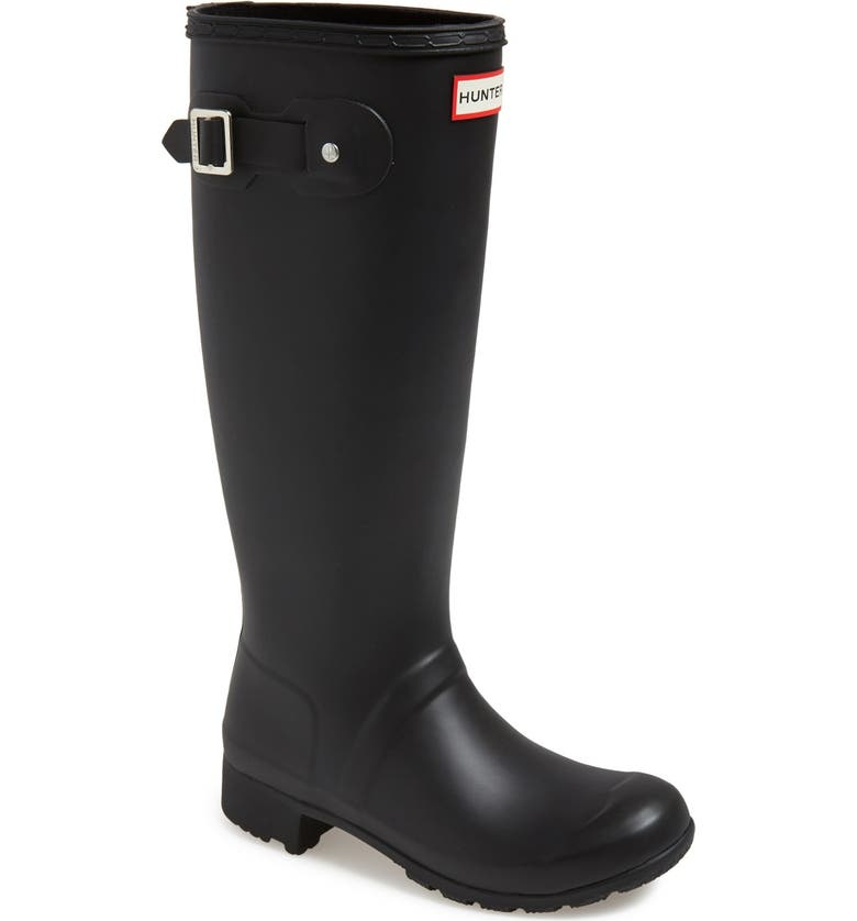HUNTER Tour Packable Waterproof Rain Boot, Main, color, BLACK/ BLACK