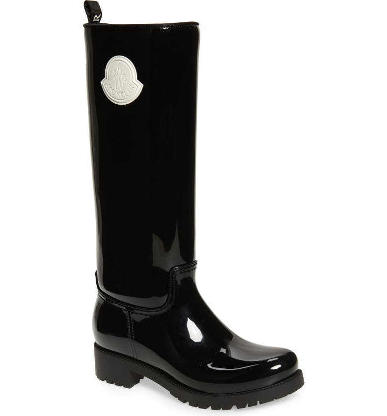 MONCLER Ginger Waterproof Knee High Rain Boot, Main, color, BLACK/ WHITE