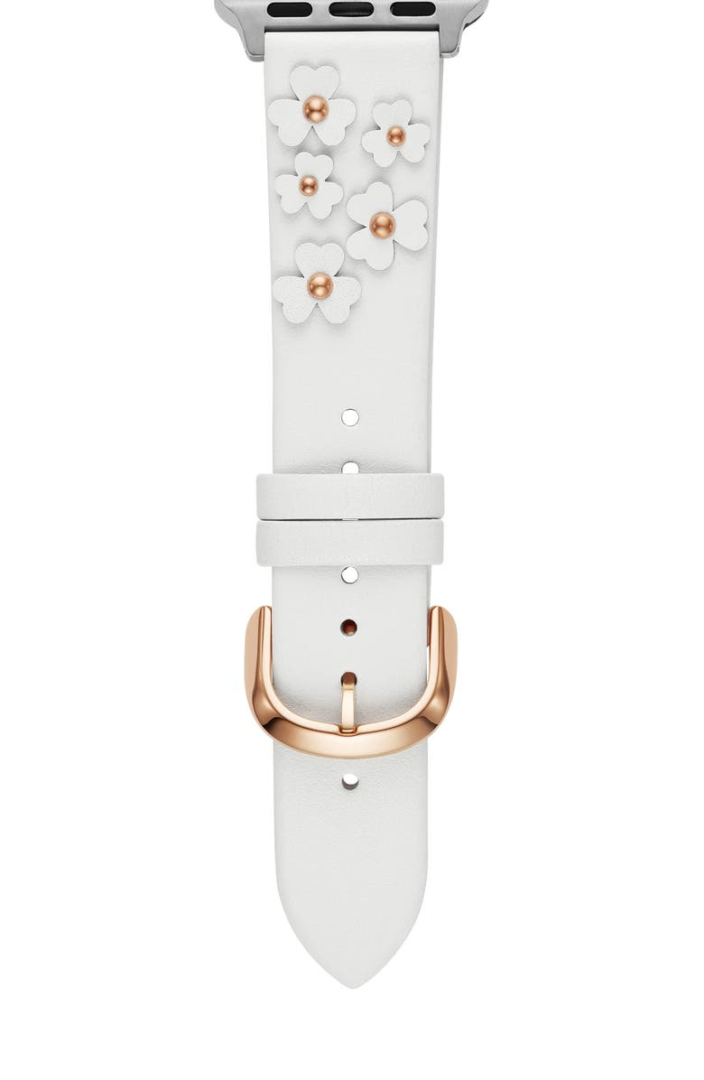 KATE SPADE NEW YORK floral appliqué leather Apple Watch<sup>®</sup> strap, Main, color, WHITE