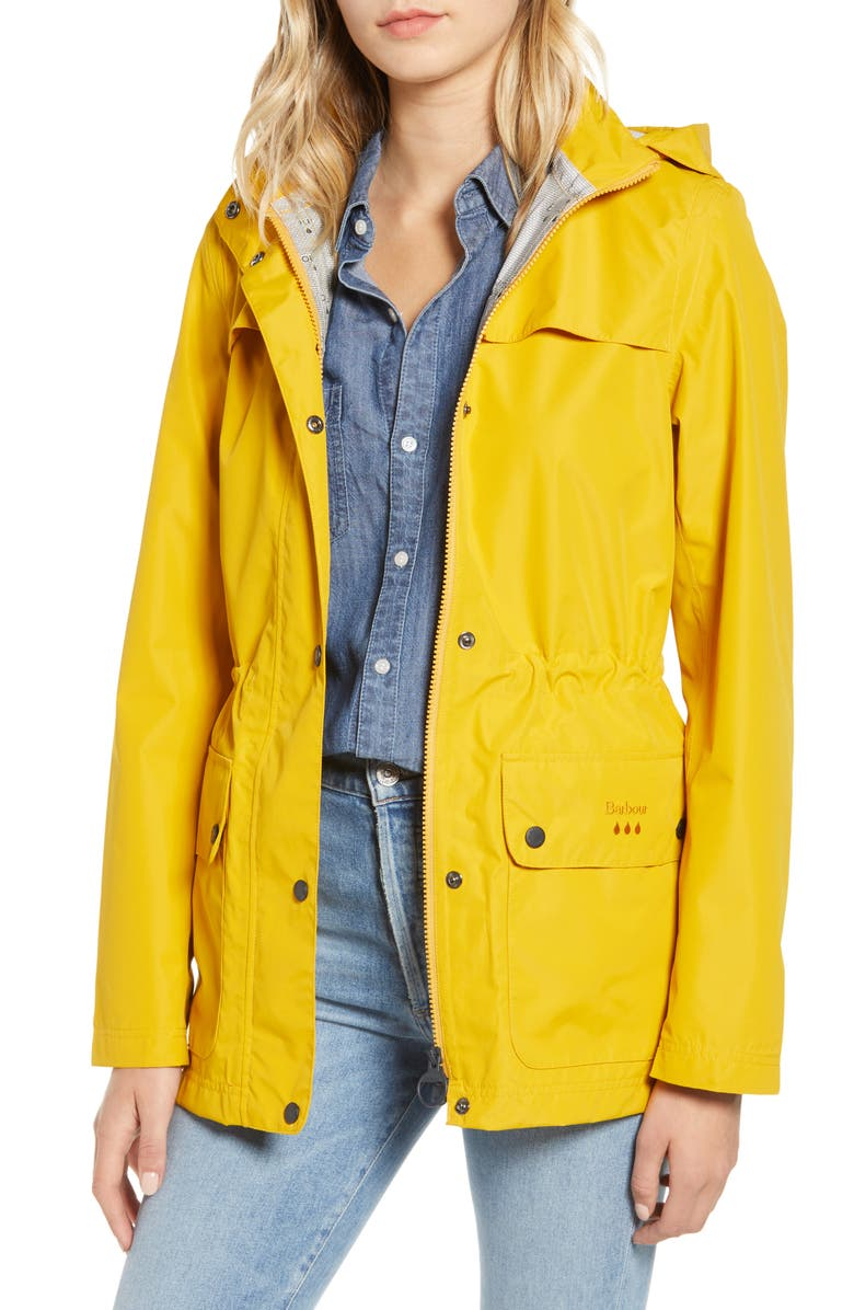BARBOUR Drizzel Waterproof Hooded Raincoat, Main, color, CANARY YELLOW