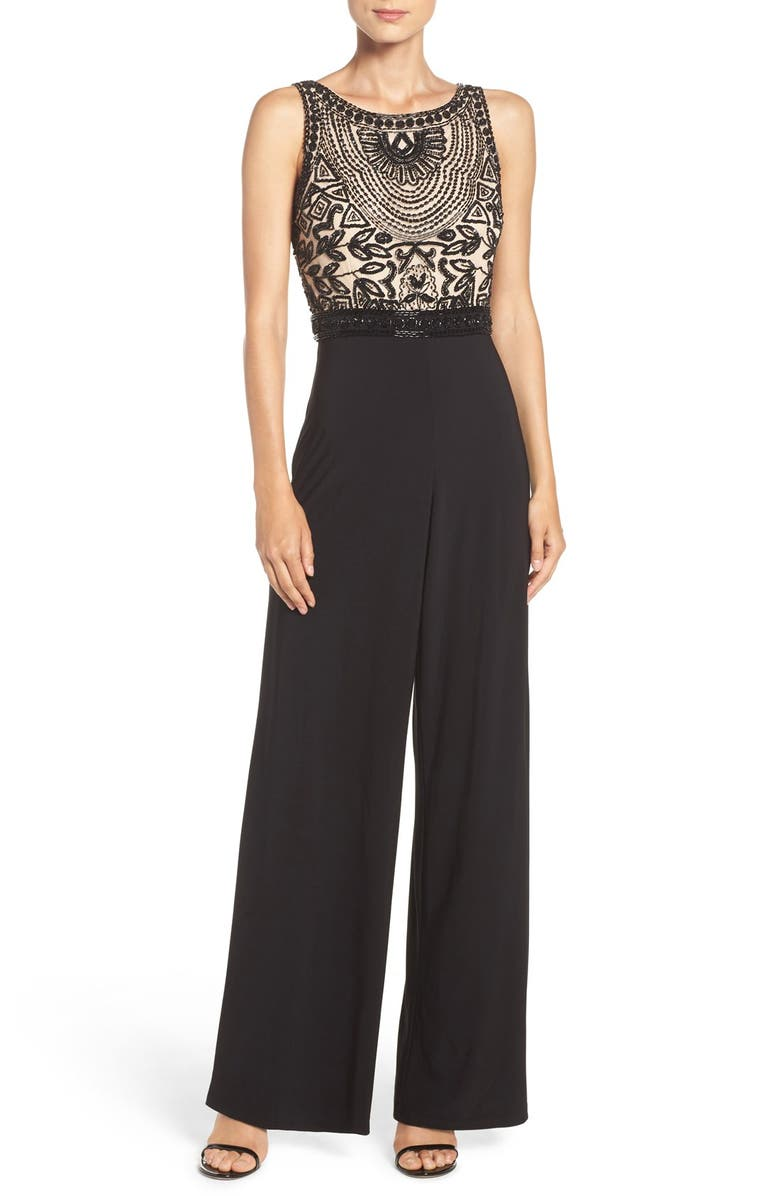 ADRIANNA PAPELL Embellished Mesh & Jersey Jumpsuit, Main, color, BLACK NUDE