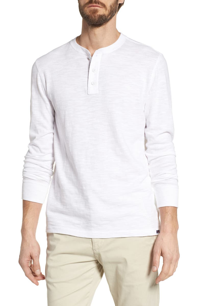 FAHERTY Slub Cotton Henley, Main, color, WHITE