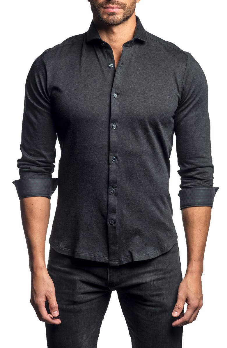 JARED LANG Slim Fit Button-Up Knit Sport Shirt, Main, color, 010