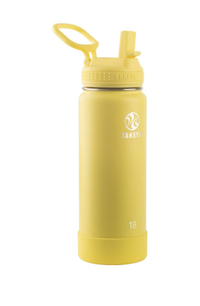 TAKEYA Canary Actives Insulated 18 oz. Straw Lid Stainless Steel Bottle, Main, color, CANARY