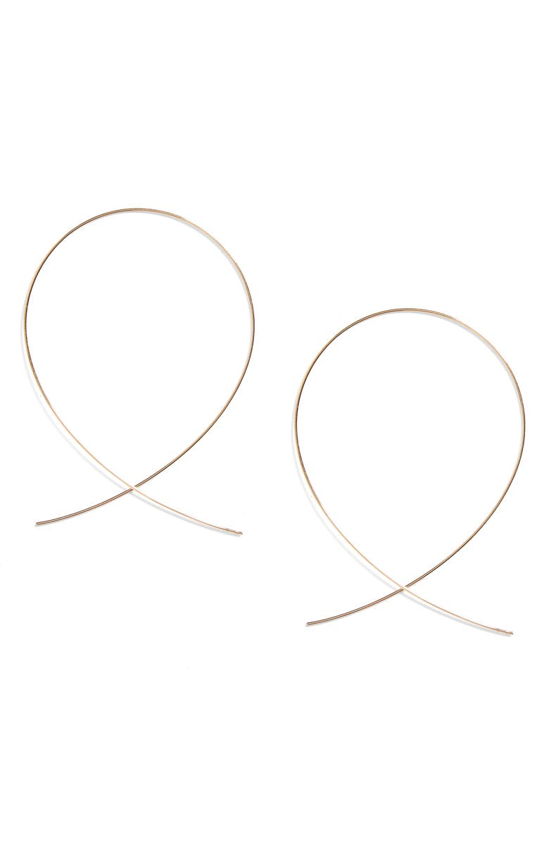 LANA JEWELRY 'Large Upside Down' Hoop Earrings, Main, color, YELLOW GOLD