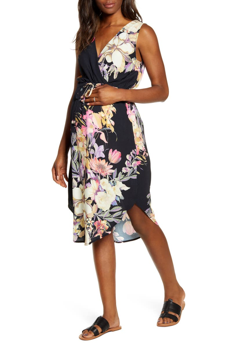 ANGEL MATERNITY Floral Maternity/Nursing Sundress, Main, color, BLACK FLORAL PRINT
