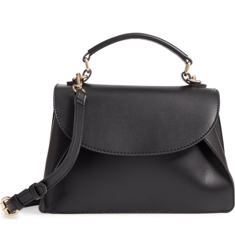 SOLE SOCIETY Izzy Faux Leather Top Handle Satchel, Main, color, 001
