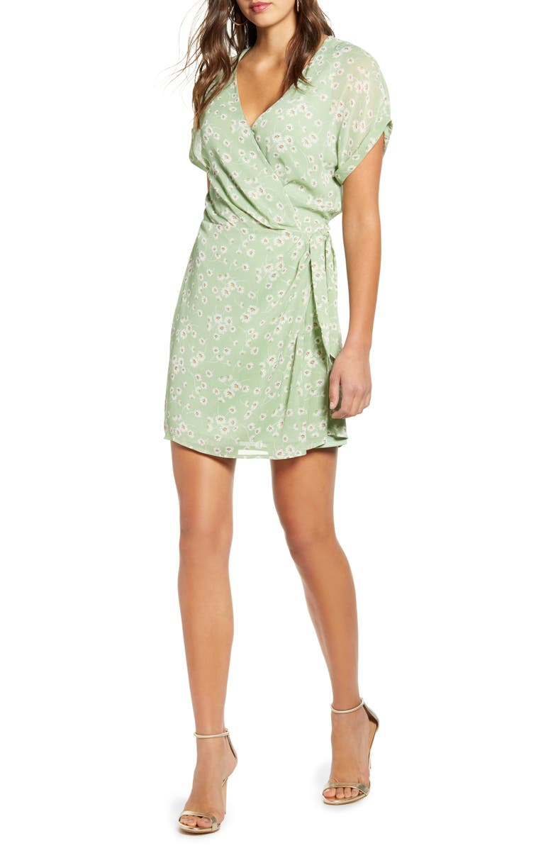 ALL IN FAVOR Simone Floral Wrap Front Minidress, Main, color, BASIL DAISY