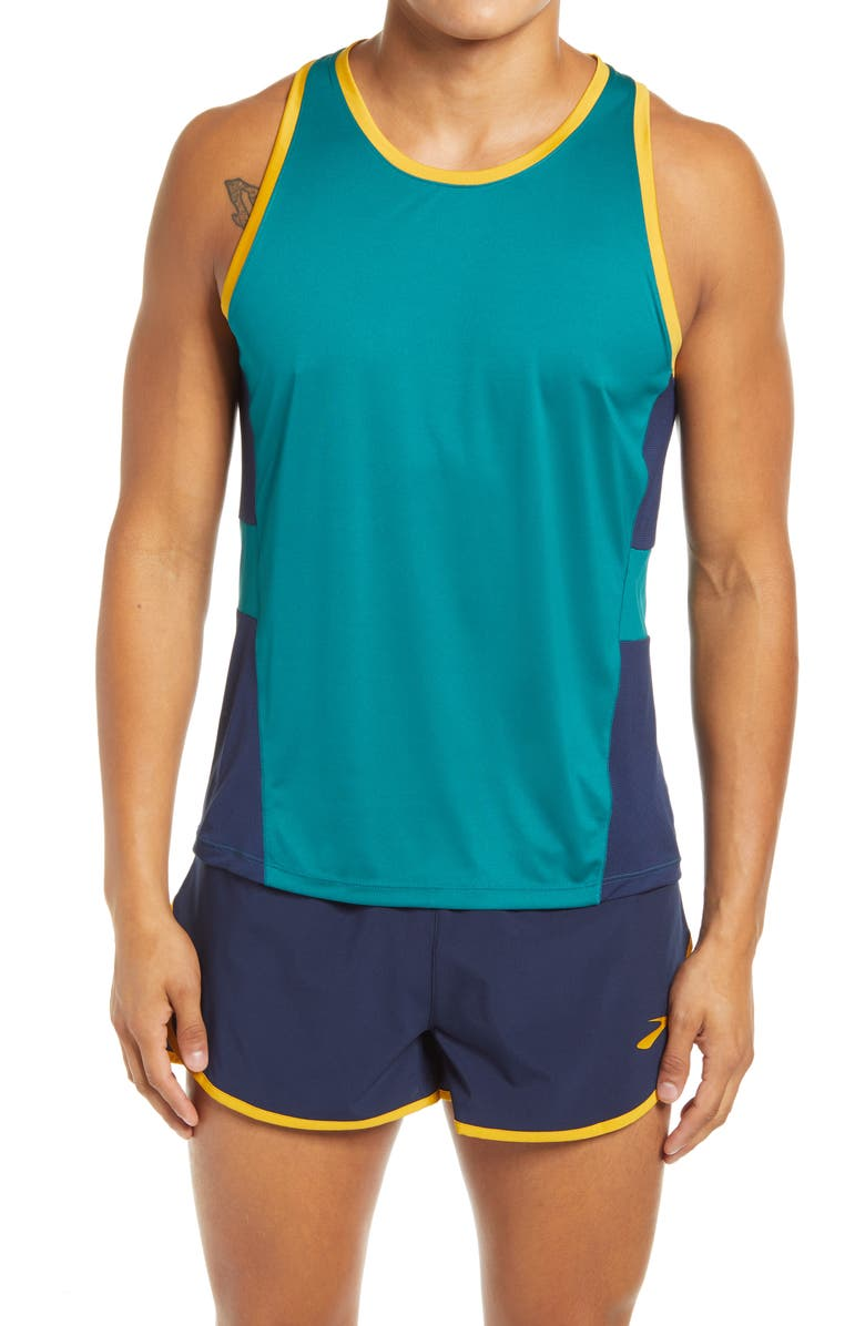 BROOKS Stealth Men's Performance Running Tank, Main, color, SPRUCE/ NAVY/ CIDER