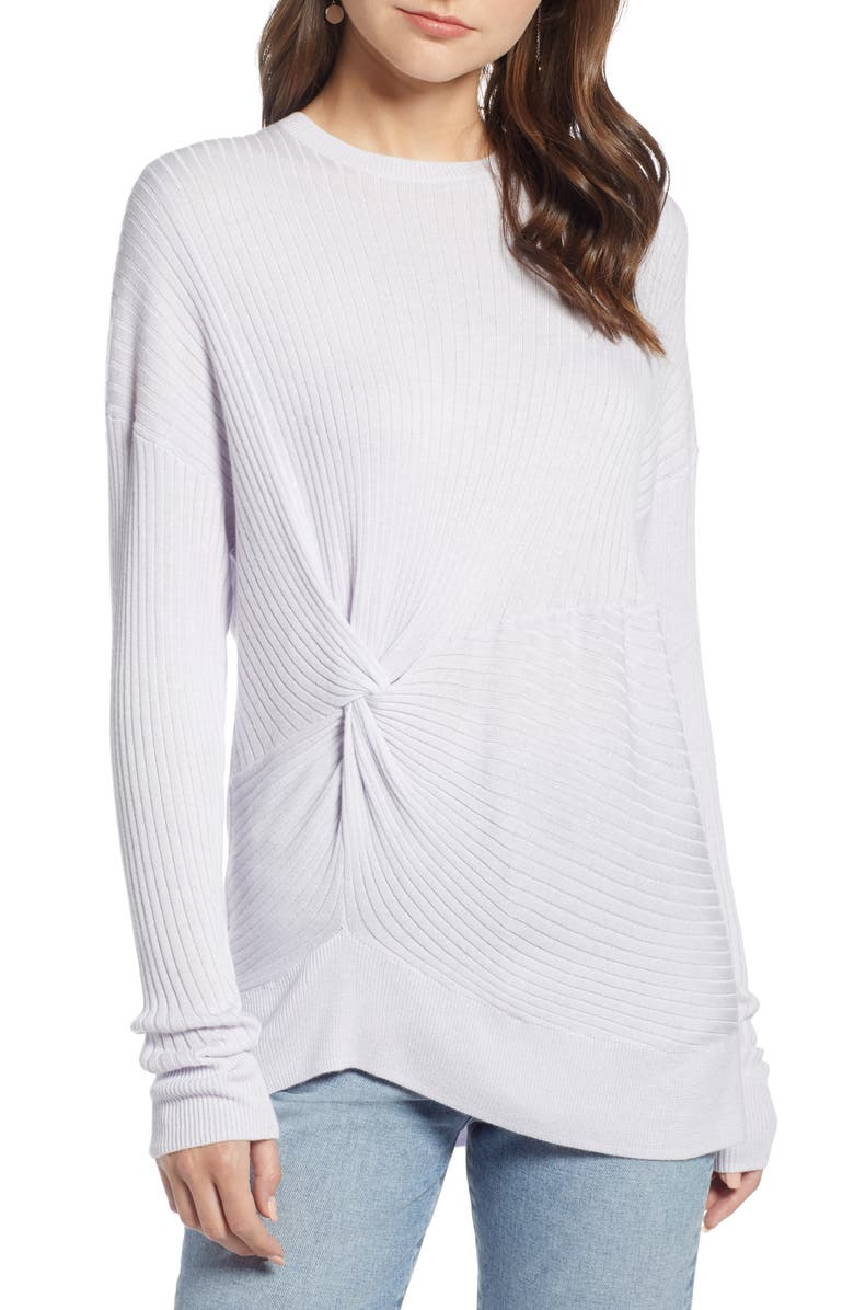 SOMETHING NAVY Knot Detail Pullover, Main, color, 530
