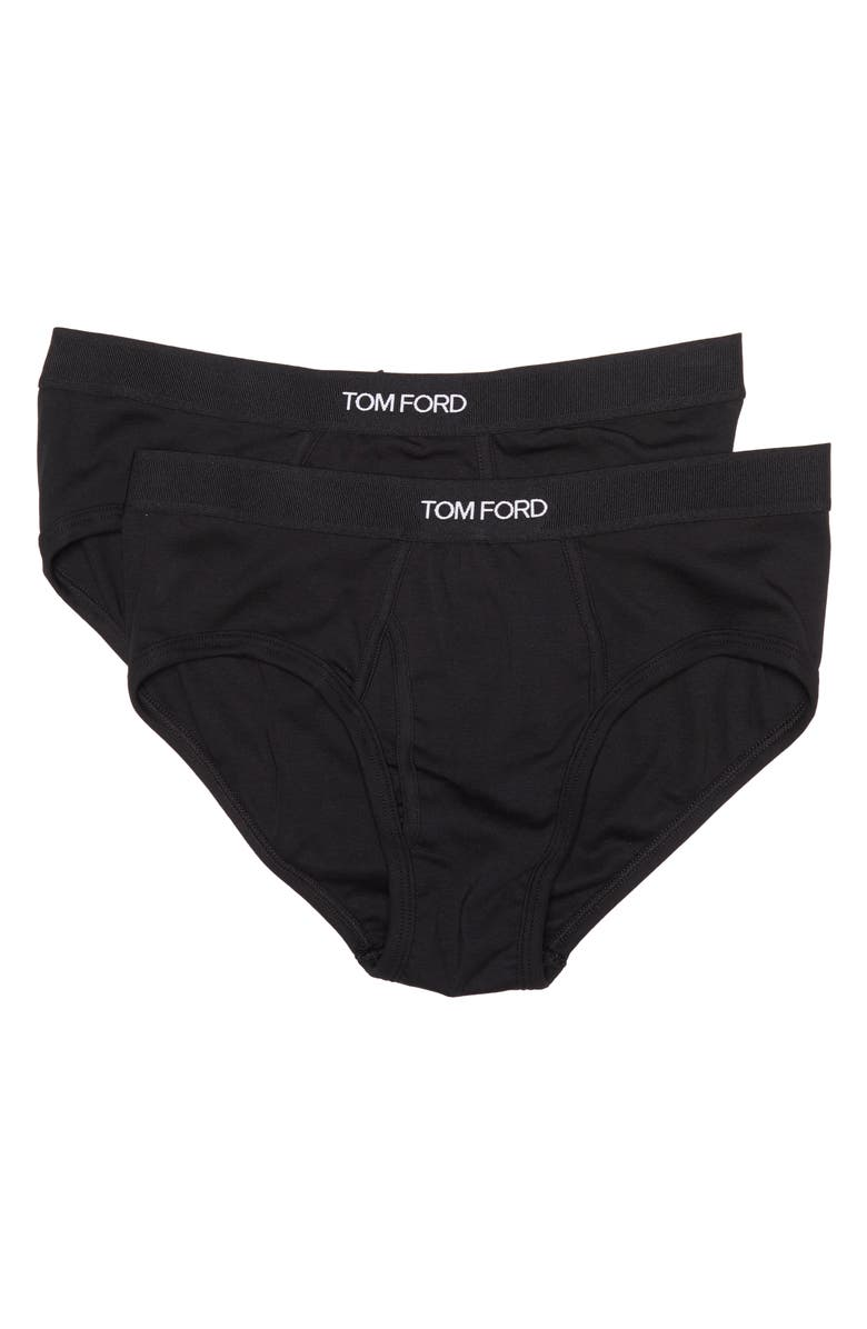 TOM FORD 2-Pack Cotton Stretch Jersey Briefs, Main, color, BLACK