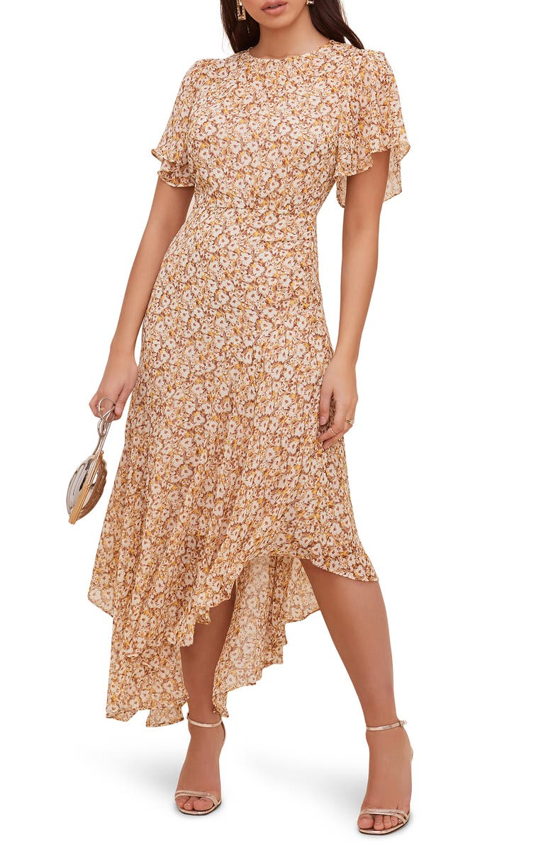 ASTR THE LABEL Floral Print Dress, Main, color, MUSTARD MULTI DITSY