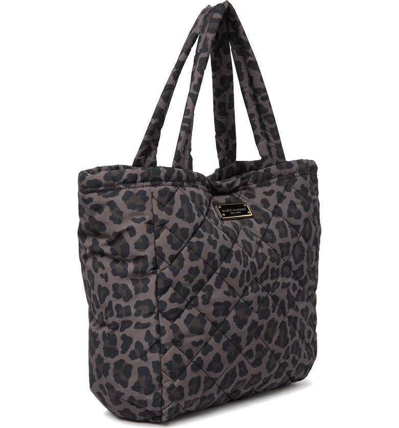 MARC JACOBS Printed Quilted Nylon Tote, Main, color, SPANISH MOSS LEOPARD MULTI