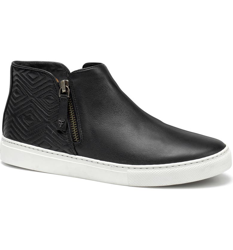 TRASK Lana Sneaker Bootie, Main, color, BLACK LEATHER