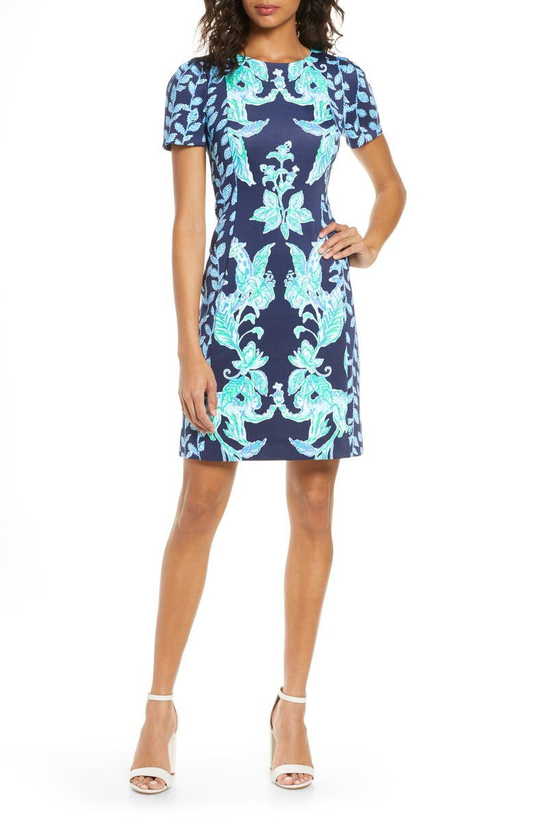 LILLY PULITZER<SUP>®</SUP> Floral Sheath Dress, Main, color, HIGH TIDE NAVY SWEET PARAKEET