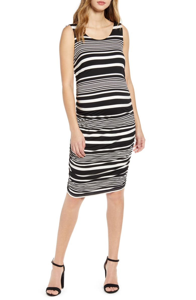 ANGEL MATERNITY Stripe Maternity Body-Con Dress, Main, color, BLACK STRIPES