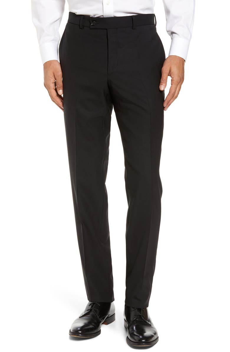 TED BAKER LONDON Jefferson Flat Front Solid Wool Dress Pants, Main, color, 001