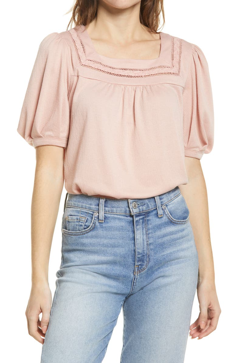 EVERLEIGH Square Neck Lace Knit Top, Main, color, DUSTY PINK