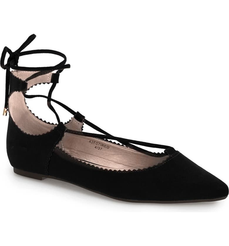 TOPSHOP 'Finest Shillie' Lace-Up Pointy Toe Flat, Main, color, 001