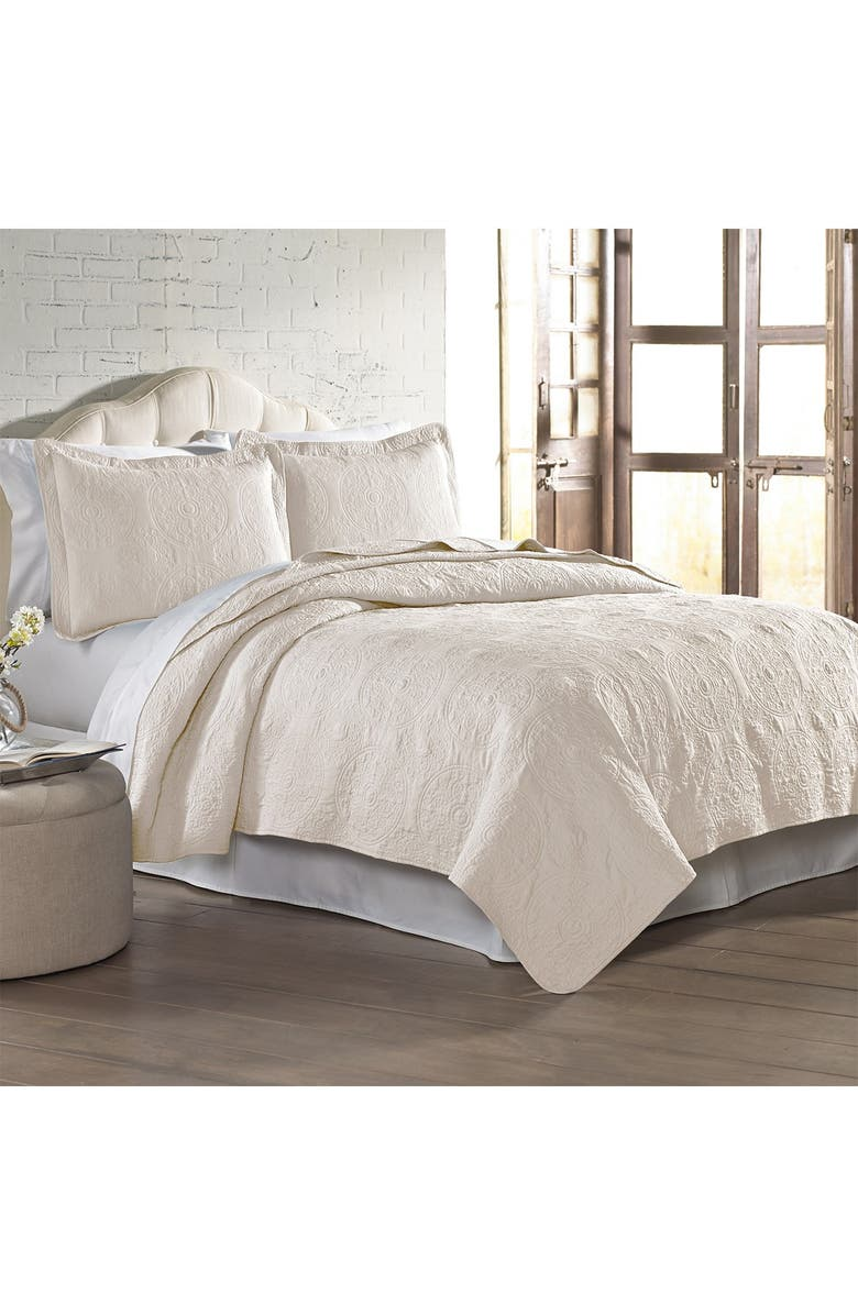 MODERN THREADS 3-Piece Full/Queen Solid Embroidered Quilt Set - Ivory, Main, color, IVORY