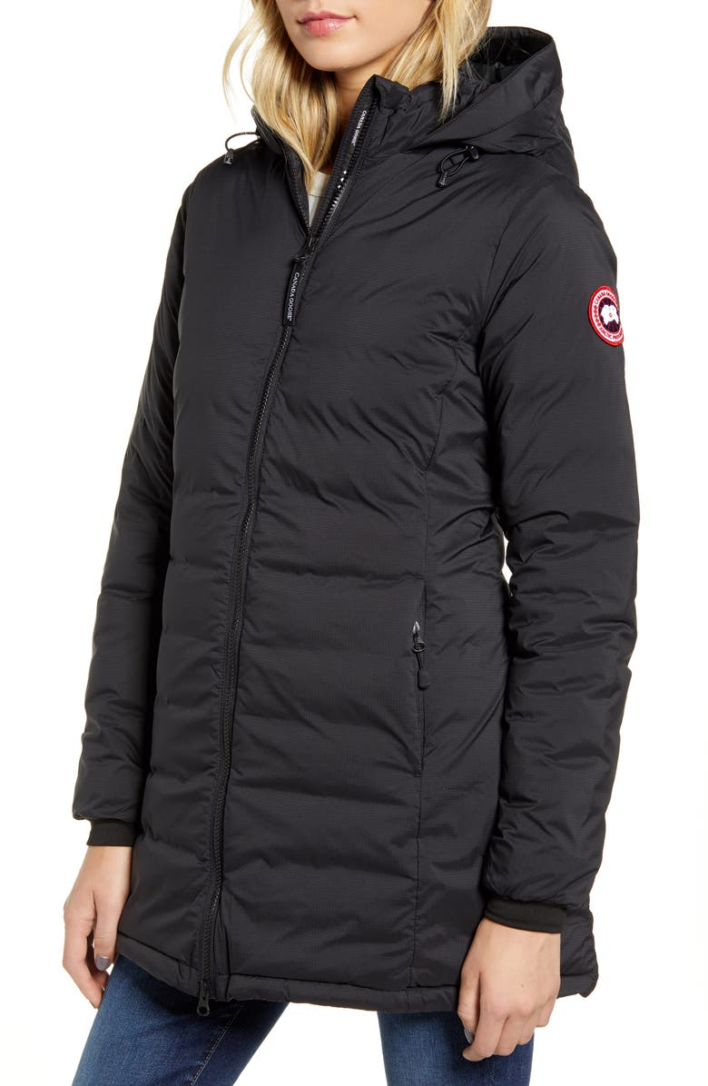 CANADA GOOSE Camp Hooded Down Jacket, Main, color, BLACK