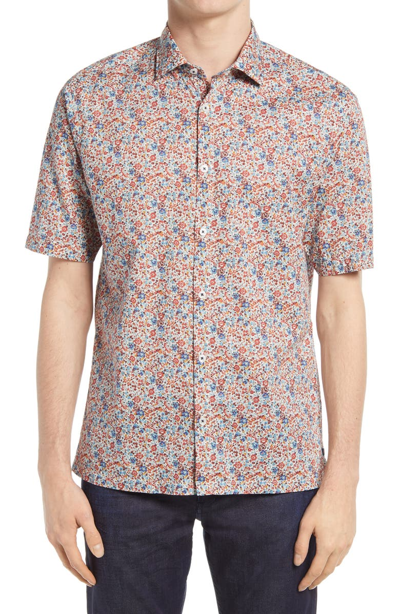 GOOD MAN BRAND On Point Slim Fit Short Sleeve Button-Up Shirt, Main, color, BLUE GEORGINA ENGLISH FLORAL
