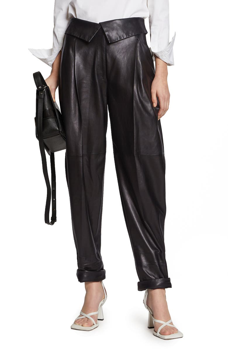 PROENZA SCHOULER Foldover Waist Pleated Leather Pants, Main, color, 001