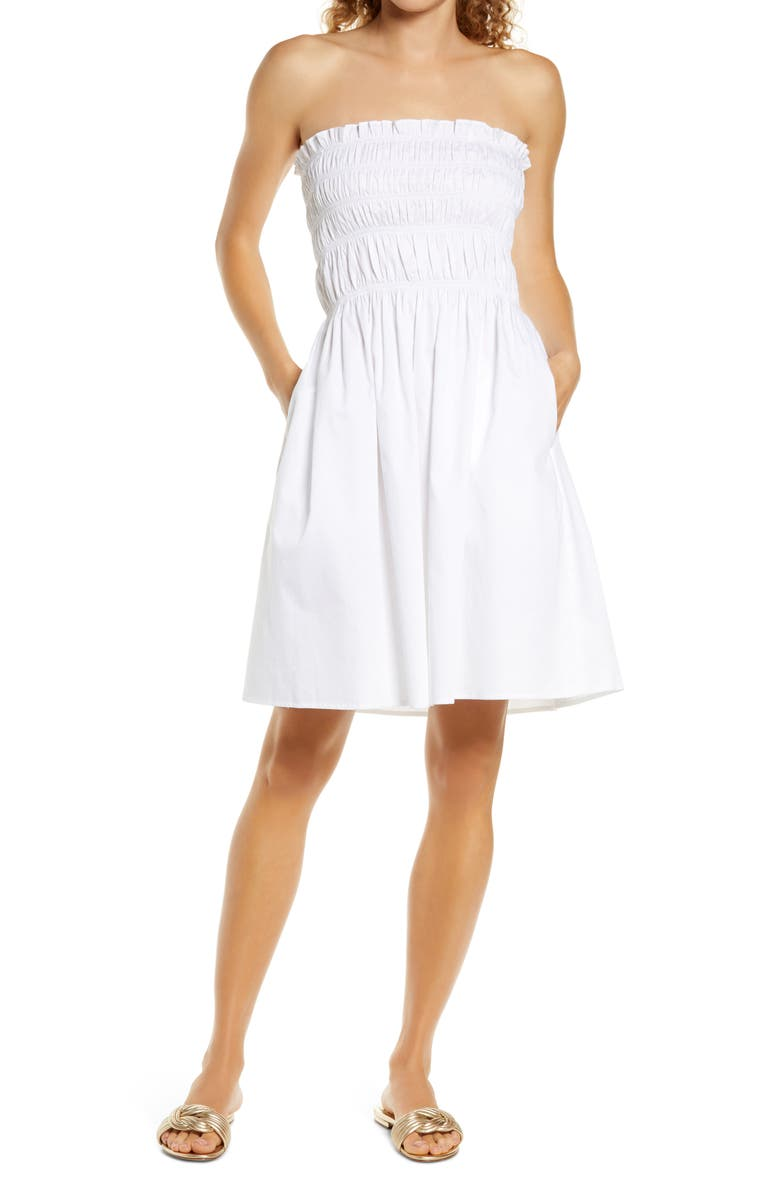 TORY BURCH Smock Cotton Poplin Cover-Up Dress, Main, color, White