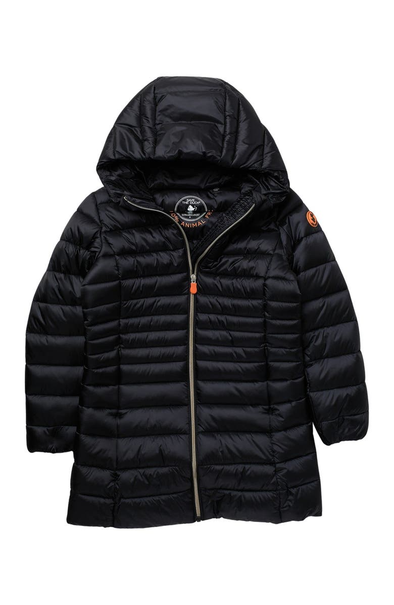 SAVE THE DUCK Long Puffer Jacket, Main, color, BLACK/01