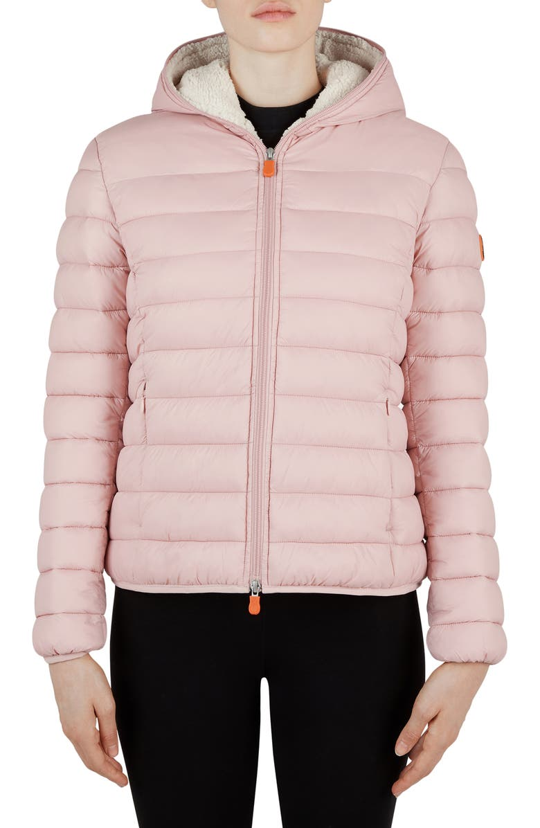 SAVE THE DUCK Giga Water Repellent Hooded Puffer Jacket with Faux Shearling Lining, Main, color, 996 BLUSH PINK