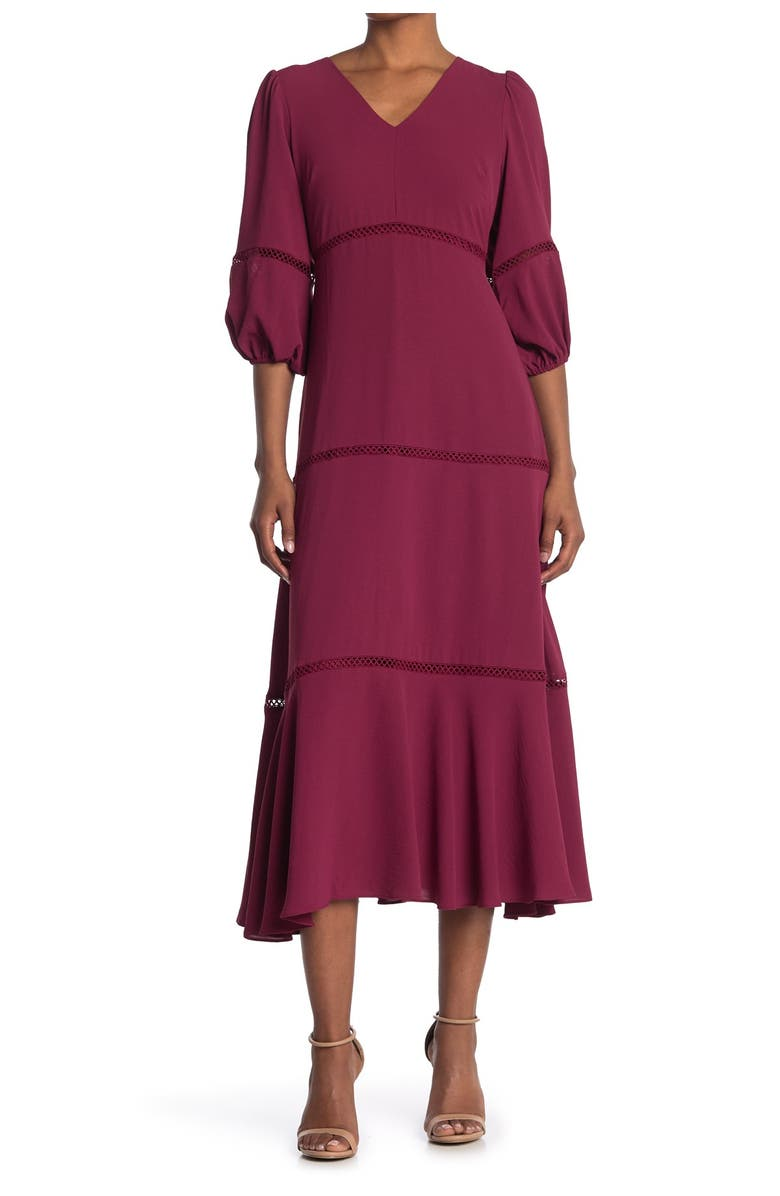 TAYLOR DRESSES Lace Inset Tiered Maxi Dress, Main, color, BRIGHT PLUM